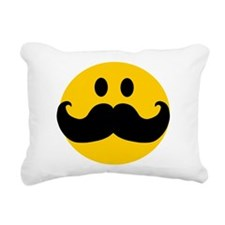 Mustached Smiley Rectangular Canvas Pillow