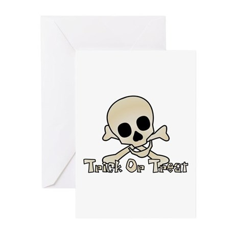 Halloween Trick Or Treat Skul Greeting Cards (Pack