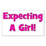 Expecting A Girl! Rectangle Sticker