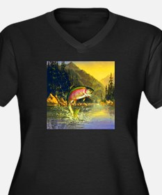 Rainbow Trout Jumping Women's Plus Size V-Neck Dar