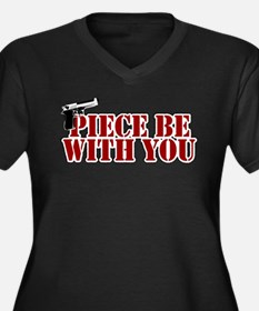 Piece Be With You Women's Plus Size V-Neck Dark T-