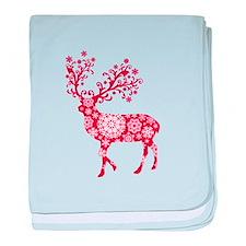 Christmas deer with snowflakes pattern baby blanke