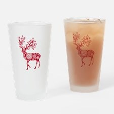 Christmas deer with snowflakes pattern Drinking Gl