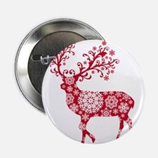"Christmas deer with snowflakes pattern 2.25"" Butto"