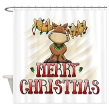 Merry Christmas Reindeer Shower Curtain