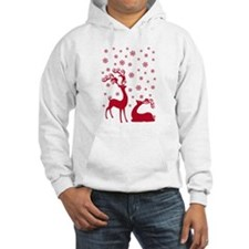 Cute Christmas deers with snowflakes Hoodie