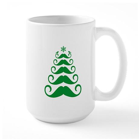 Mustache Christmas tree design Large Mug