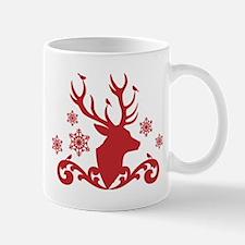 Christmas deer with birds and snowflakes Mug