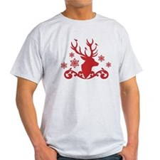 Christmas deer with birds and snowflakes T-Shirt