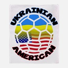 Ukrainian American Football Soccer Throw Blanket