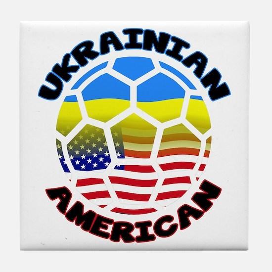 Ukrainian American Football Soccer Tile Coaster