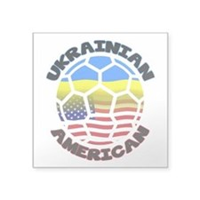 Ukrainian American Football Soccer Square Sticker