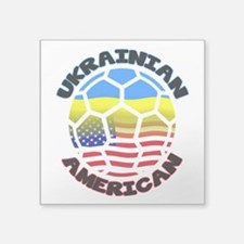 Ukrainian American Football Soccer Square Sticker
