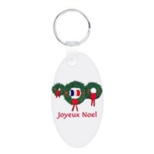 France Christmas 2 Aluminum Oval Keychain