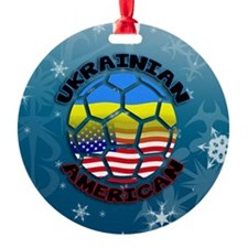 Ukrainian American Football Soccer Ornament
