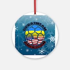 Ukrainian American Football Soccer Ornament (Round