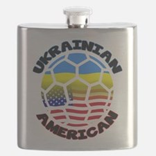 Ukrainian American Football Soccer Flask