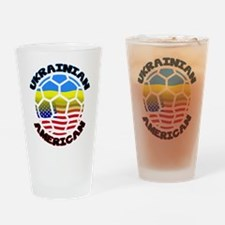 Ukrainian American Football Soccer Drinking Glass