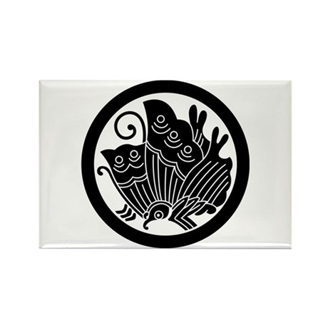 Ageha butterfly in circle Rectangle Magnet (10 pac
