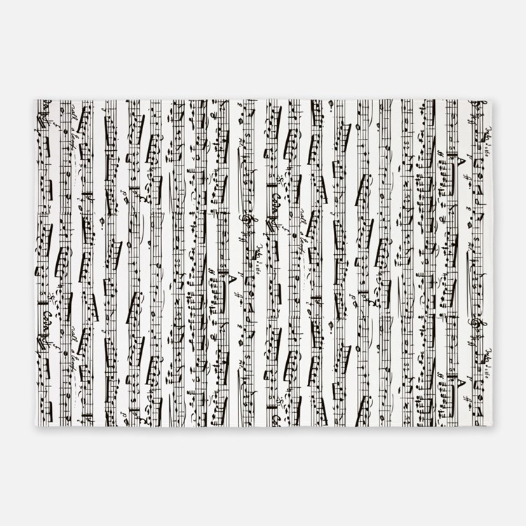 Black Music Notes Rugs, Black Music Notes Area Rugs