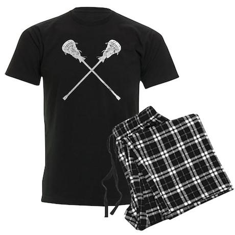 Distressed Lacrosse Sticks Men's Dark Pajamas
