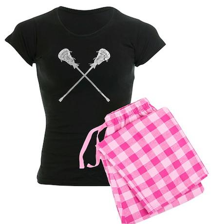 Distressed Lacrosse Sticks Women's Dark Pajamas