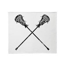 Distressed Lacrosse Sticks Throw Blanket