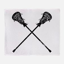 Distressed Lacrosse Sticks Throw Blanket