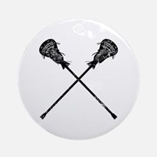 Distressed Lacrosse Sticks Ornament (Round)