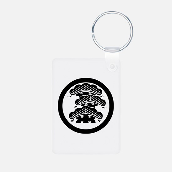 Three-tiered pine R with arashi in circle Keychains