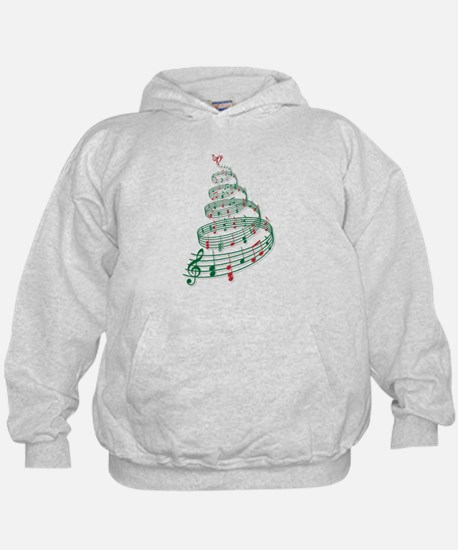 Christmas tree with music notes and heart Hoody