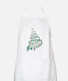 Christmas tree with music notes and heart Apron
