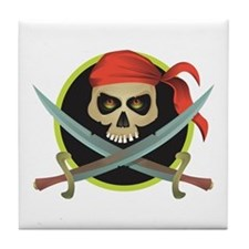 Pirate Skull and Swords Tile Coaster