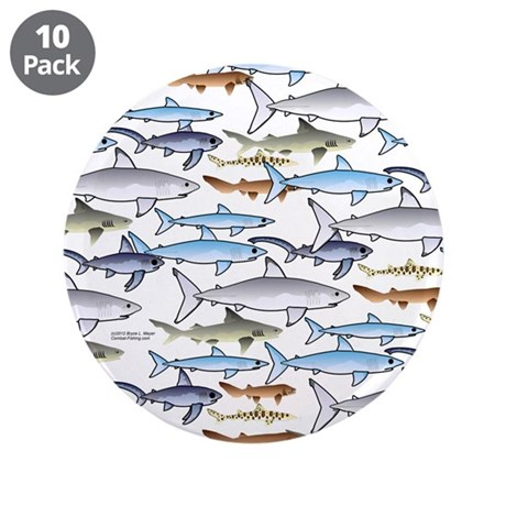 "School of Sharks 1 3.5"" Button (10 pack)"