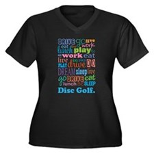 Disc Golf Women's Plus Size V-Neck Dark T-Shirt
