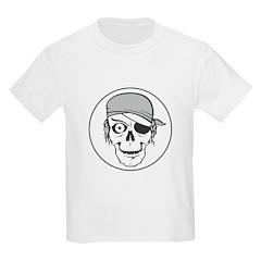Black and White Pirate Skull Design Kids T-Shirt