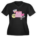 Love Joy Peace.png Women's Plus Size V-Neck Dark T