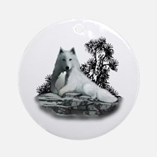 White Wolf and Pup Ornament (Round)