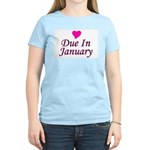 Due In January Women's Pink T-Shirt