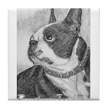 PODO Portraits -- Boston Terrier Tile Coaster