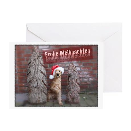 Frohe Weihnachten Irish Terrier Greeting Cards (Pk