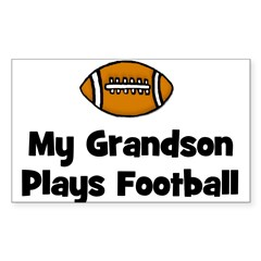 My Grandson Plays Football Rectangle Decal