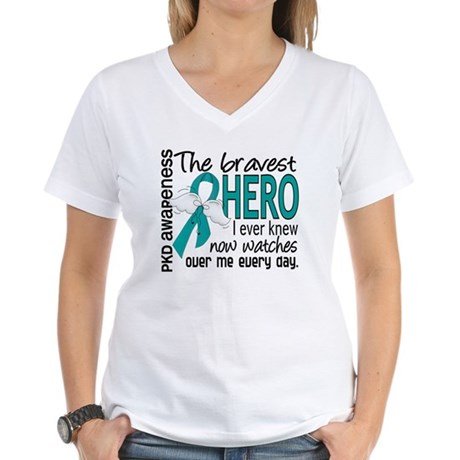 Bravest Hero I Knew PKD Women's V-Neck T-Shirt