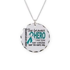 Bravest Hero I Knew Ovarian Cancer Necklace Circle