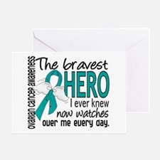 Bravest Hero I Knew Ovarian Cancer Greeting Card