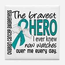 Bravest Hero I Knew Ovarian Cancer Tile Coaster