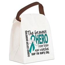 Bravest Hero I Knew Ovarian Cancer Canvas Lunch Ba