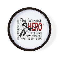 Bravest Hero I Knew Melanoma Wall Clock