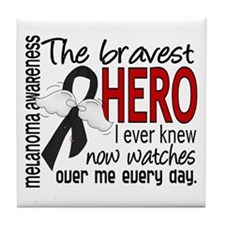 Bravest Hero I Knew Melanoma Tile Coaster