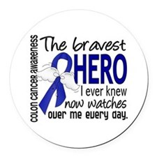 Bravest Hero I Knew Colon Cancer Round Car Magnet